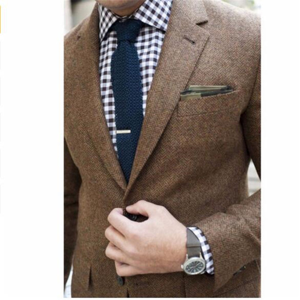 NACH MAß Tweed Mantel Blazer Jacke, BESPOKE Tailored Herren