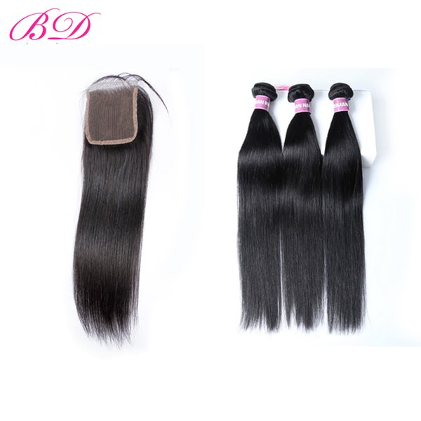 BD Human Hair Bundles Three Part Lace Closures Pieces Peruvian Straight Hair Extensions Tissage Cuticle Aligned Hair