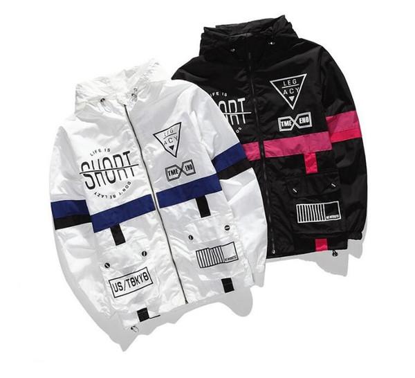2018 Europe et les États-Unis veste coupe-vent de mode chaude veste solaire lettres anglais imperméable et coupe-vent couple coa veste