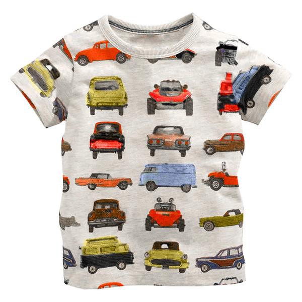 2017 boy short sleeve T shirt 100% cotton printed half sleeve Europe and the United States fashion car model boys brand shirt