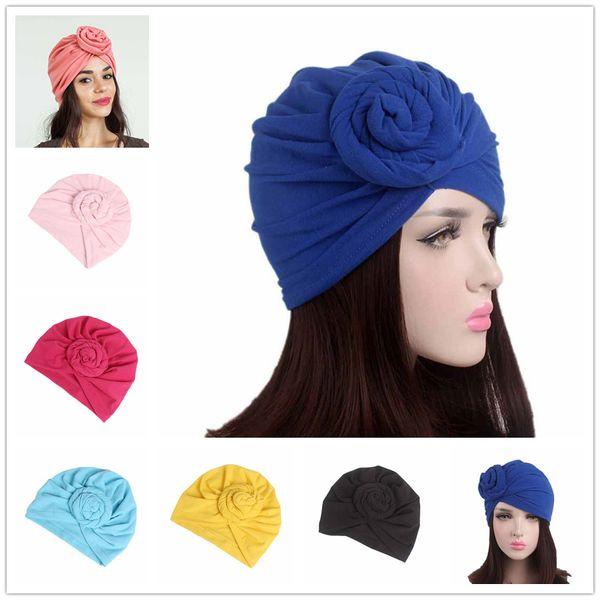 vintage Muslim Headdress Bandanas Women Flower Printing Chemo Cap Turban Autumn Winter Cross Elastic Headbands Hair Bands hijab Head Cap