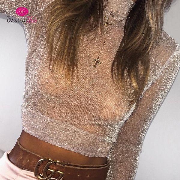 WannaThis2017 Sexy Shining Tops Women Turtleneck Long Sleeve Crop Top See Through Bling Mesh Tees Solid Pink Black Shirt Females