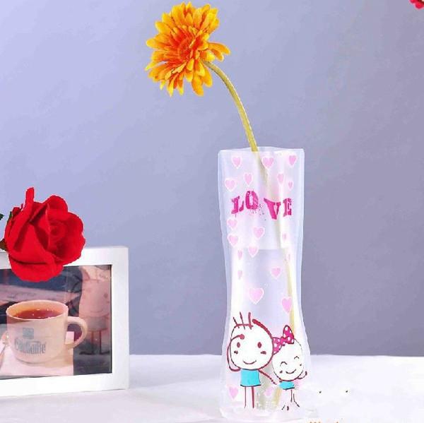 500pcs Novelty Durable Folding Plastic PVC Flower Vase Using For Home Wedding Party Office Decoration Unbreakable 12*27cm
