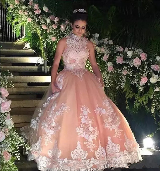 2018 Sexy Latest High Neck Quinceanera Dresses Ball Gown Appliques Beaded Prom Dresses For Birthday Party Dresses Prom Gown Quinceanera Dresses Beaded Crystals Cheap Quinceanera Gowns Vestidos De 15 Anos dresses , Sweet 15 16 Dresses history of quinceanera, formal dresses for juniors