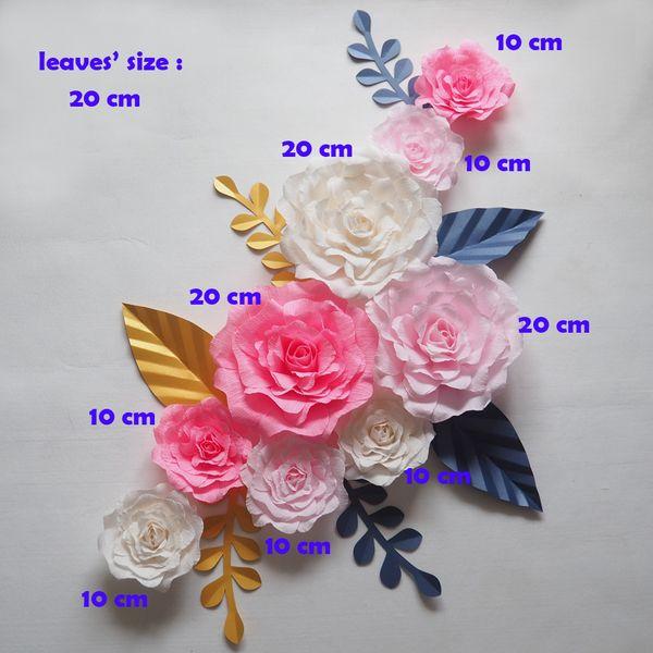 Giant Paper Flowers Backdrop Artificial Handmade Crepe Paper Rose 9PCS+Leaves 7PCS For Wedding & Party Deco Home Decoration