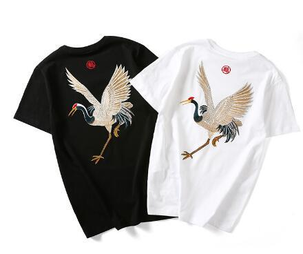2019 new summer wind tide brand China retro folk style cotton short sleeve T-shirt embroidery Xianhe men loose