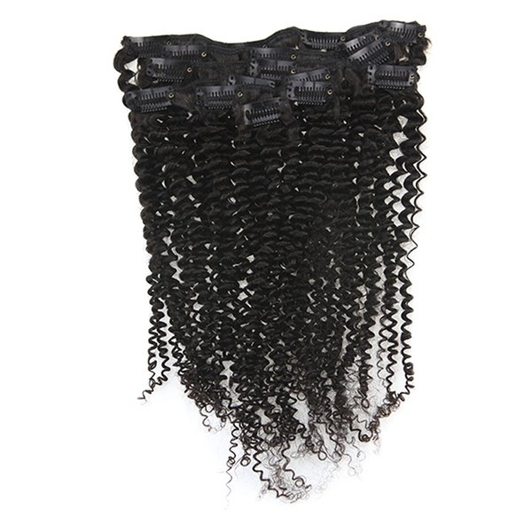 Mongolian Kinky Curly Clip ins 120g/Set Virgin Hair Clip in Human Hair Extensions Curly Natural Color