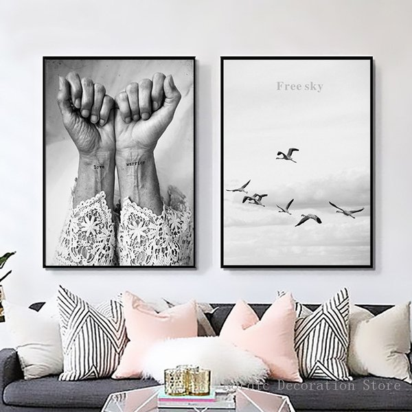 LZN Nordic Poster Black And White Love Warrior Posters And Prints Wall Art Canvas Painting Sky Bird Hand Abstract Canvas