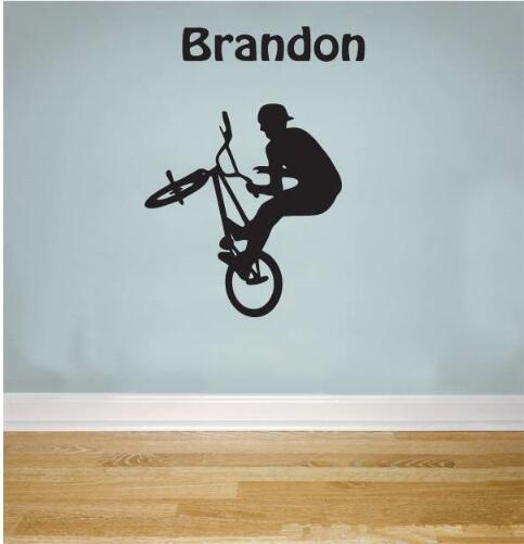 Free shipping Cool Personalised Name BMX STUNT Removable Wall Sticker for Nursery Kids Bedroom Boys Home Decor Mural -you choose name& color