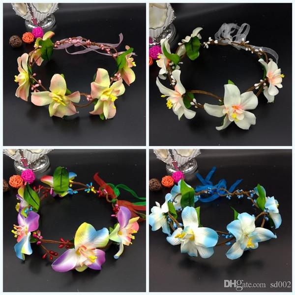 Bohemian Style Seaside Garlands Vacation Hair Hoop Photograph Wreaths Bride Pure Handmade Artificial Flowers Hand For Girls 5 2lk jj