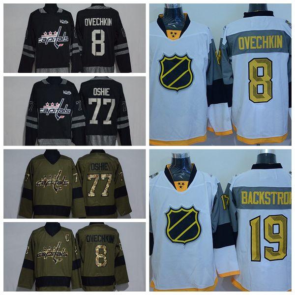 Washington Capitals 77 T.J. Oshie 43 Tom Wilson 19 Nicklas Backstrom 8 Alex  Ovechkin Camisetas de a30741773961e