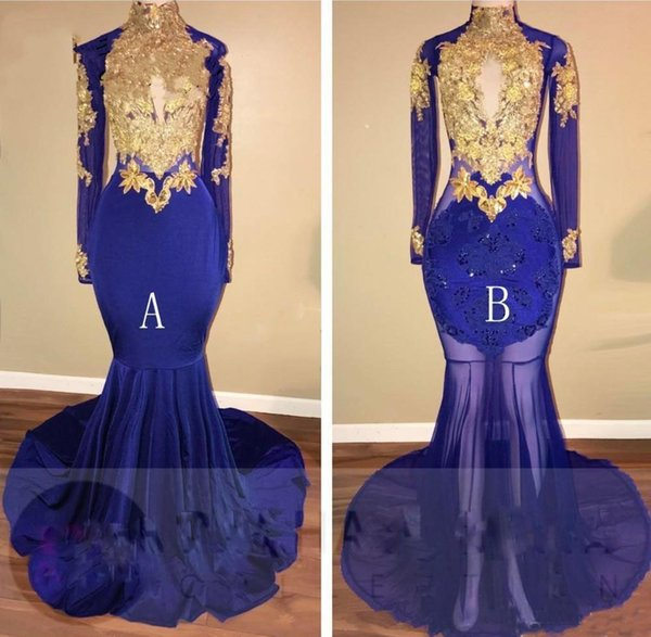Newly Royal Blue Prom Dresses 2018 Long Sleeves Gold Appliques Illusion Bodice Formal Party Gowns Arabic Dresses Black Girl Dress