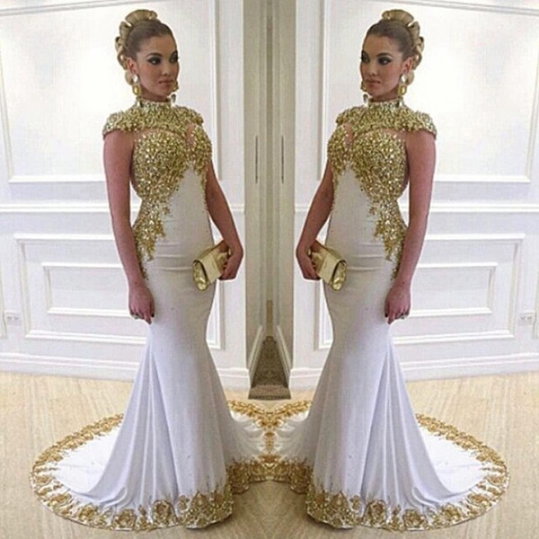 Luxury Long Mermaid Evening Dresses With Gold Lace Appliques High Neckline Cap Sleeves Women Formal Dress Gowns