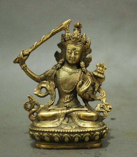 Folk Chinese Tibet Brass Buddhism Manjushri Buddha Kwan-yin Bodhixcsattva Statue