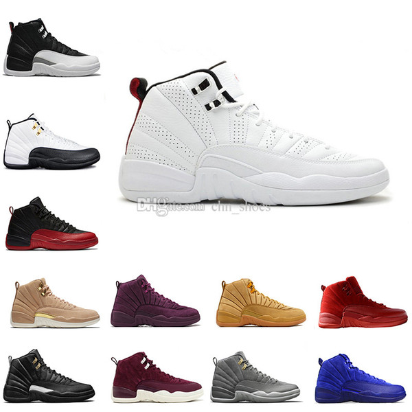 Basketball shoes 12 12s Bordeaux Dark Grey wool white Flu Game UNC Gym red taxi gamma french blue Suede sneaker Sports size 5.5-13