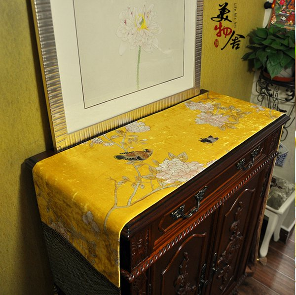 Thick Handmade Chinese Ink Wash Paint Bird Flower Wedding Table Runner Cloth Embroidery Room Sofa Home Hotel Bedding Decoration