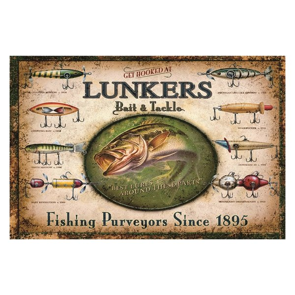 GET HOOKED AT LUNKERS bait tackle Fishing vintage tin sign home Bar Pub Hotel Restaurant Coffee Shop home Decorative Retro Metal Poster