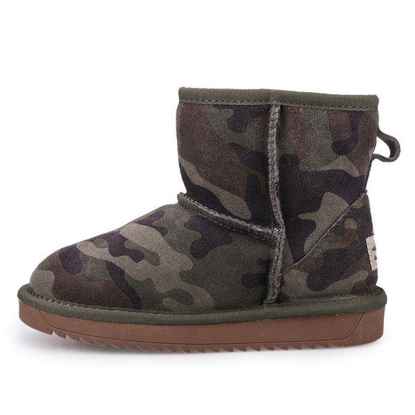2018 Yeni Çocuklar Moda Çizmeler Ordu Yeşil Sıcak Çocuklar Ayakkabı Rahat ve Şık Erkek Botları için Eur Boyutu 28-35 #