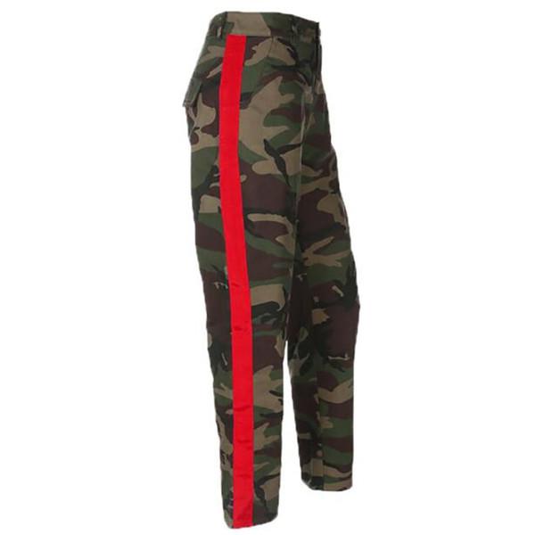 Moda Outono Mulheres Camuflagem Calças Casuais Calças Femininas Mulheres Patchwork Calças Streetwear Algodão Camo Calças Militares