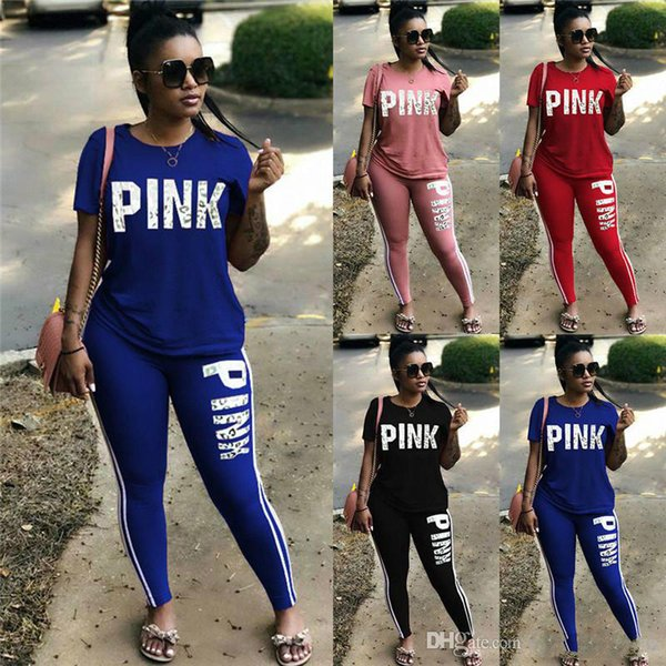 Pink Letter Print Tracksuits Women Two Piece Set 2018 Female Street T-shirt Tops And Jogger Set Suits Casual 2pcs Outfits Plus size S-3XL