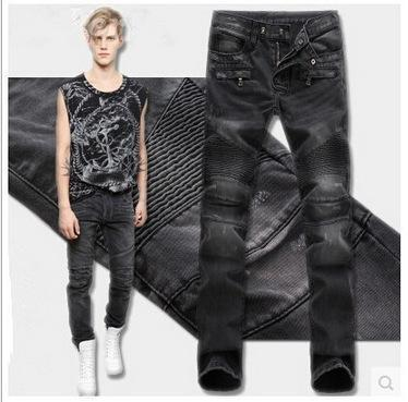 Skinny Biker Jeans Men High Stretched Jeans with Zippers Pleated Slim Jean Men Scratched Pants Trousers
