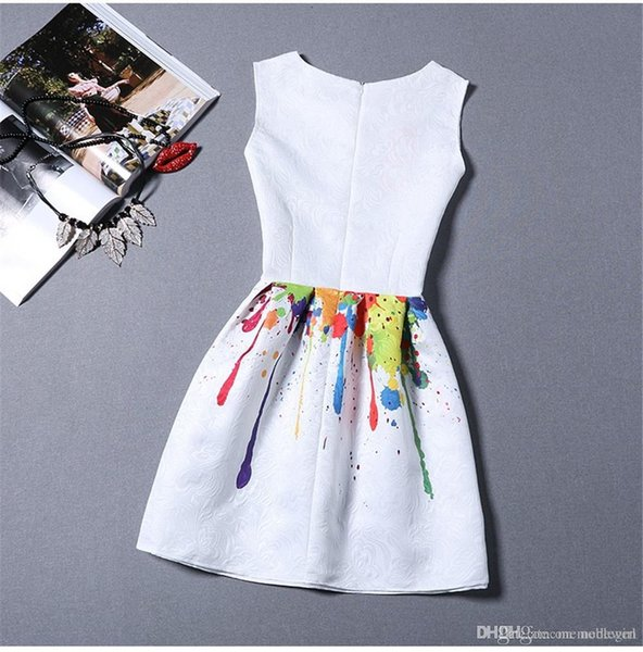 new women printed flower dress sleeveless knee length one piece dress casual slim bodycon korea college vintage dress NG-014
