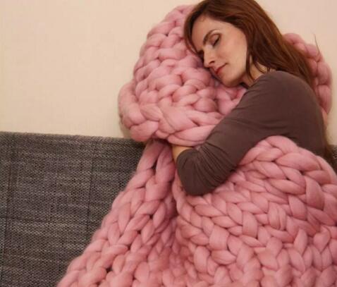 60 * 60cm 100 * 80cm Calda maglia pesante coperta di lana di filato spesso spessa Bulky maglia a maglia tiro kititted coperta fotografia 15 colori 2018