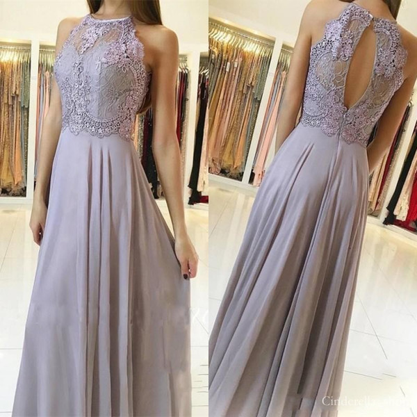 2019 Lilac Bridesmaid Dresses Floor Length Jewel A Line Chiffon Lace Top Beaded Hollow Back Long Formal Prom Party Cheap Customized