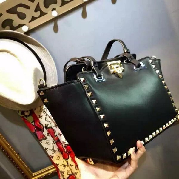 genuine leather rivet BAG brand design top quality real Leather womens shoulder bag / tote Come with Dust Bag cards AND RECEIPT NO453188