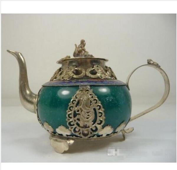 Wholesale - old handwork jade teapot decoration armored dragon monkey frog