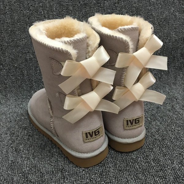 New Fashion Ugs Women Snow Boots 2-Bow Back Decoration Australian Style Cow Suede Leather Winter Lady Outdoor Boots Brand Ivg
