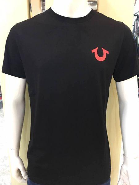 true religion 19ss neue USA Rot Schwarz Weiß Herren Robin True Jeans Crew T-Shirt Mit Flügeln Real American Jeans Mtorcycle Club Slim Kurzarm Fit T-Shirt