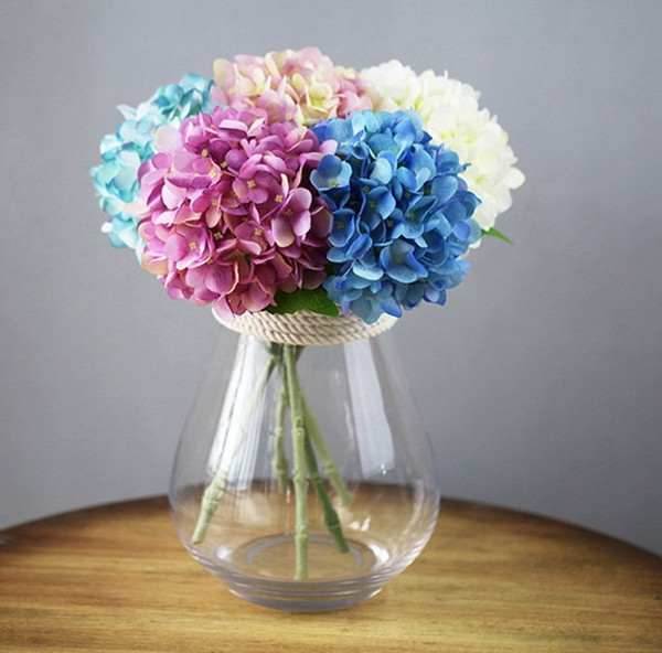 56cm Artificial Hydrangea Flower Head Fake Silk Single Real Touch Hydrangeas 8 Colors for Wedding Centerpieces Home Party Decorative Flowers