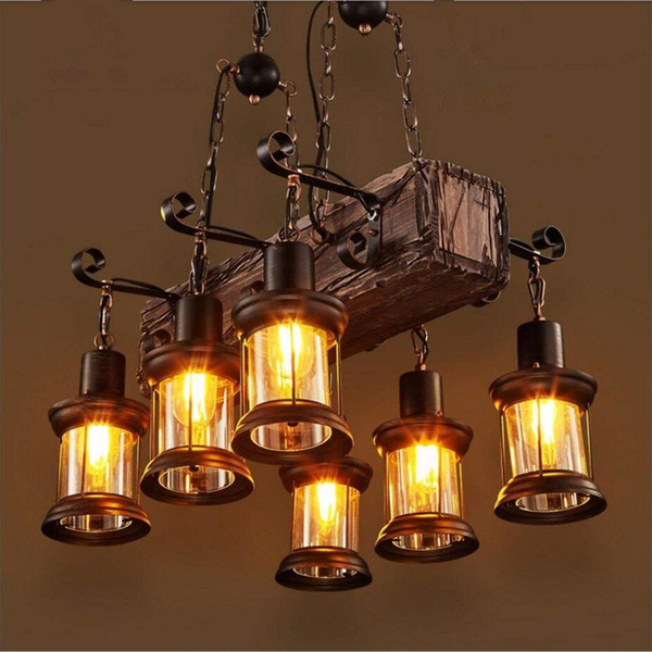 6 Heads Industrial Loft Style Countryside Vintage Wooden Chandelier Lamp Pedant Lights For The Foyer Coffee Room Bar Decorate Pendant Lamp