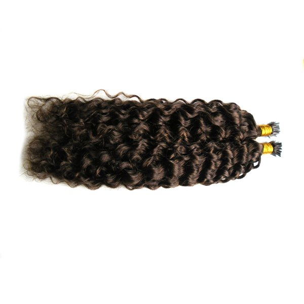 Kinky Curly Real Remy I Tip Human Hair Extensions Keratin Bond Keratin Hair Extension Fusion 100PCS
