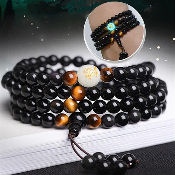 2018 New Natural Obsidian Carving Drachen Buddha Armband Halskette Tiger Eye Stein Perlen Armband Leuchten in dunklen Rosenkranz Armbänder