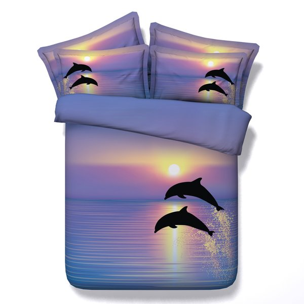 3D jumping dolphins bedding sets queen christmas duvet cover single twin king cal king size bedspreads sunset bedlinens ocean dog cat