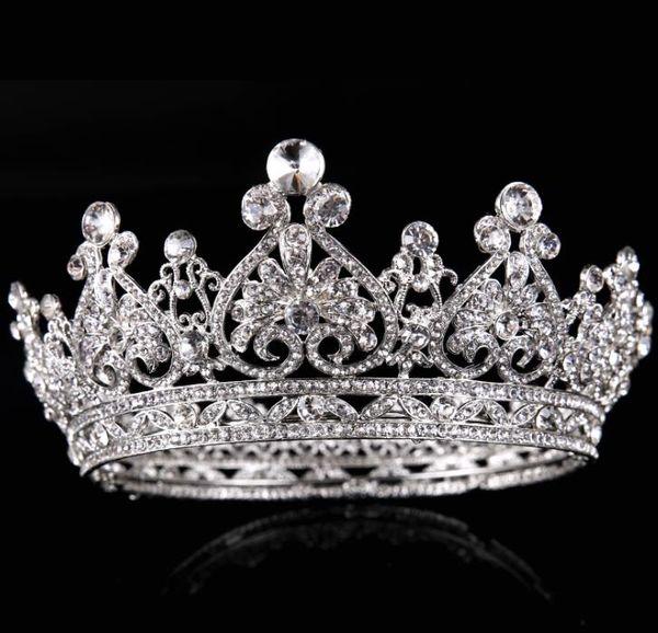 Brautschmuck, Silber Vollkreis, Diamantkrone, Princess Bride, Krone Brautkleid Zubehör, europäische Krone Ornamente
