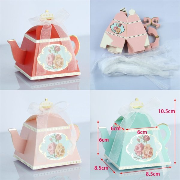 Paper Candy Box Gilding Royal Teapot Shape Boxes Retro Personality Wedding Favor Afternoon Tea Cakes Pastries Gift Wrapper Creative 0 6zj VY