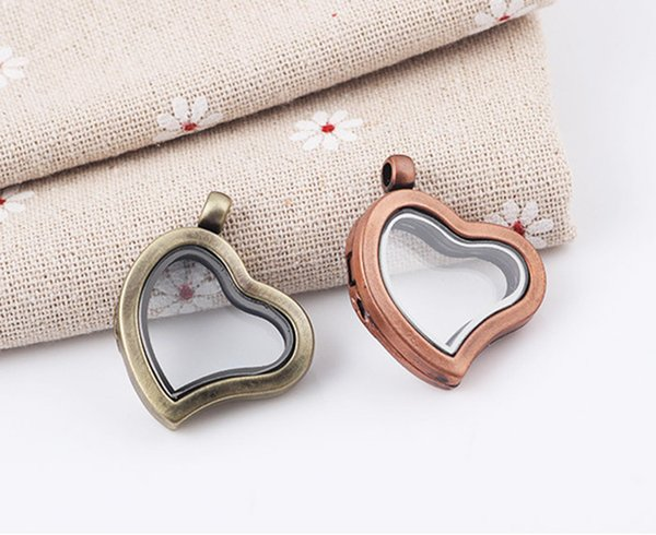 top popular 5PCS lot 38*30*7mm Magnetic Heart floating glass living memory locket pendent Fit DIY Floating Charms Jewellery 2021
