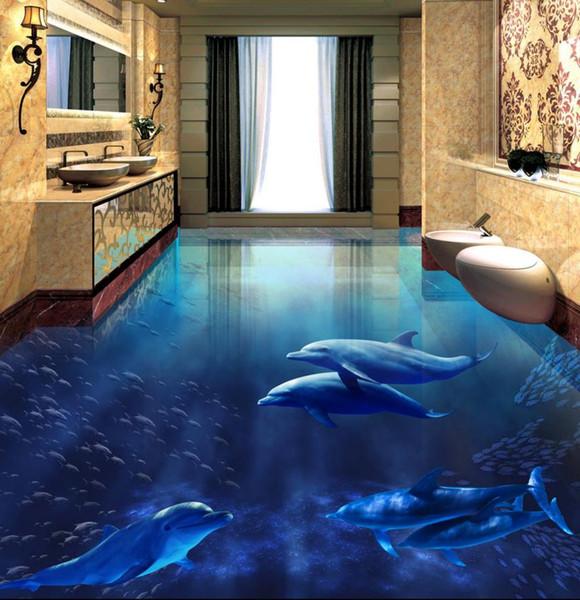 personnaliser plancher de vinyle Dolphin Underwater World papier peint 3d peintures murales de plancher