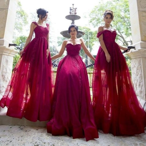 2018 Vintage Sweetheart A Line Tulle Bridesmaid Dresses 2 Styles Neckline Straps Sweetheart Lace Appliques Maid Of Honor Gowns for Weddings