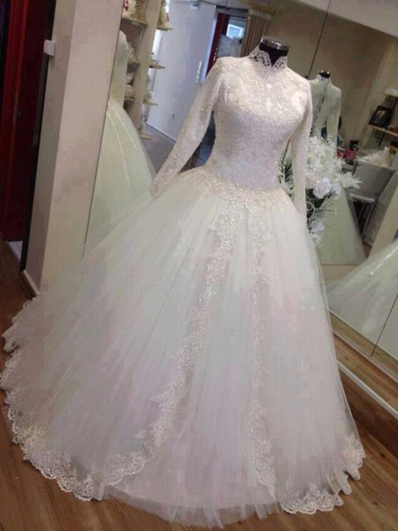 High Neck Ball Gown Muslim Wedding Dresses with Long Sleeve For Bride Lace Custom Bridal Gown Special Occasion Bridesmaid Party 17wed123