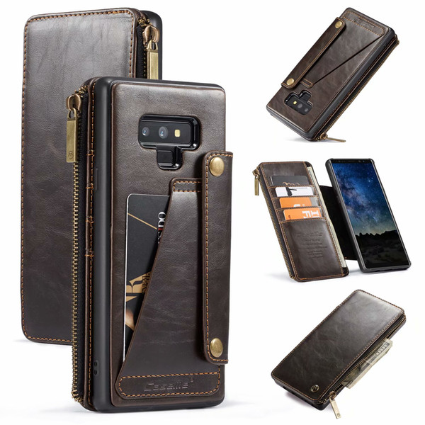 CaseMe Multifunction Retro Leather Wallet For Samsung Galaxy Note 9 Hard Case Luxury Flip Cover Magnetic Removable Zipper ID Card Slot Pouch