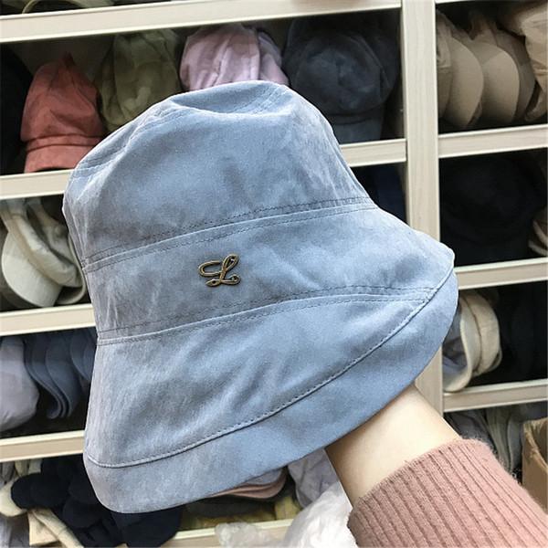 Cappello a secchiello da donna in cotone tinta unita per pesca in spiaggia Cappello estivo a tinta unita in cotone per donna Design alla moda Pieghevole con fiocco in lana