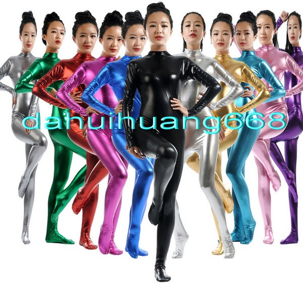 Sexy Body Suit Costumes Unisex New 15 Color Shiny Lycra Metallic Suit Catsuit Costumes No Head/Hand Halloween Party Cosplay Costumes DH010