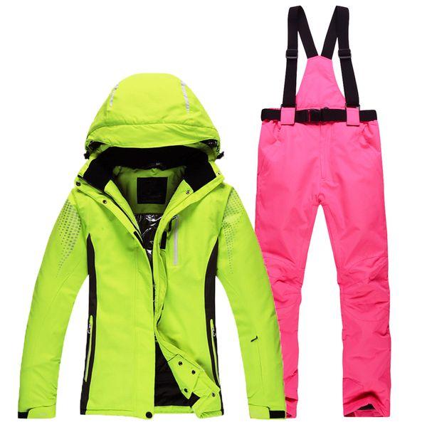 Women Skiing Jacket Windproof Waterproof Snow Thicken Thermal Snowboarding Suit Breathable Jacket Warmth Pants Outdoor Ski Suit