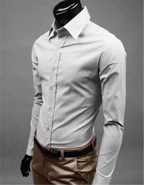 New Fashion Brand Light grey Groom Shirts Long Sleeve Shirt Men Slim Design Formal Casual Male Dress Shirt Size M-5XL (C8014)