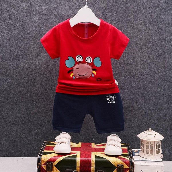 Baby Boys Girls Clothing Sets Kids Cotton Tracksuits Children Cartoon Crab T-shirt Shorts 2Pcs/Sets Summer Infant Fashion Outfit