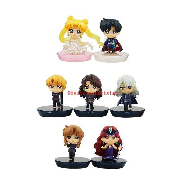 7pcs/set Petit Chara Pretty Guardian Anime Sailor Moon Figure 25th Anniversary Dark Kingdom pvc figure doll For Kids Phone Accessories